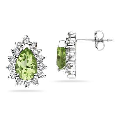 7X5mm Pear Shaped Peridot and Diamond Flower Earrings in 14k White Gold