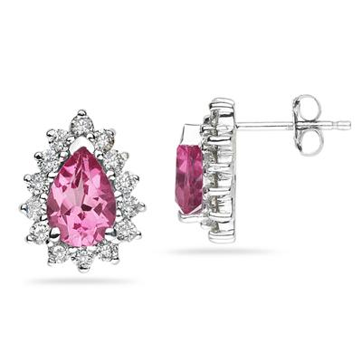 7X5mm Pear Shaped Pink Topaz and Diamond Flower Earrings in 14k White Gold