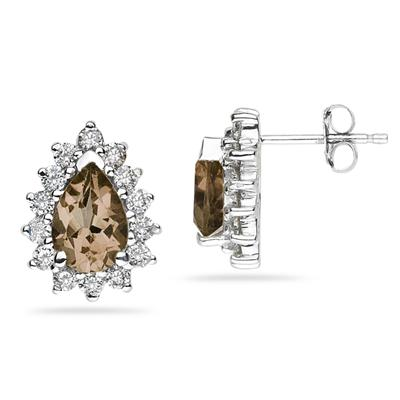 7X5mm Pear Shaped Smokey Quartz and Diamond Flower Earrings in 14k White Gold