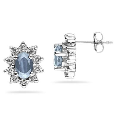 6X4mm Oval Shaped Aquamarine and Diamond Flower Earrings in 14k White Gold