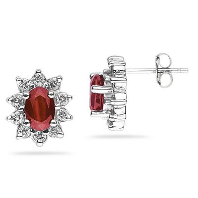 6X4mm Oval Shaped Garnet and Diamond Flower Earrings in 14k White Gold