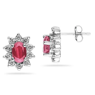 6X4mm Oval Shaped Pink Topaz and Diamond Flower Earrings in 14k White Gold