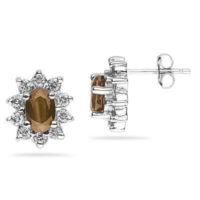 6X4mm Oval Shaped Smokey Quartz and Diamond Flower Earrings in 14k White Gold