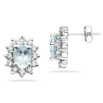 7X5mm Oval Shaped Aquamarine and Diamond Flower Earrings in 14k White Gold