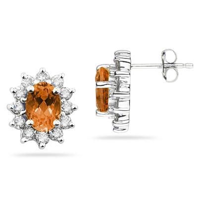 7X5mm Oval Shaped Citrine and Diamond Flower Earrings in 14k White Gold