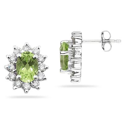 7X5mm Oval Shaped Peridot and Diamond Flower Earrings in 14k White Gold