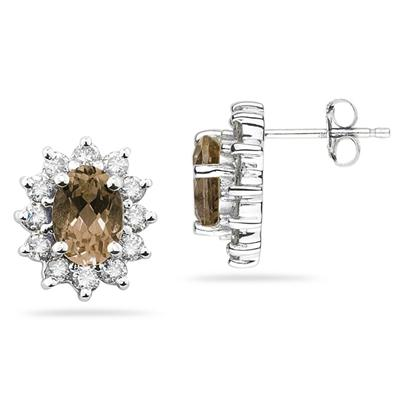 7X5mm Oval Shaped Smokey Quartz and Diamond Flower Earrings in 14k White Gold