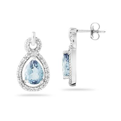 Pear Shaped Aquamarine and Diamond Earrings in 10k White Gold