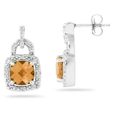 Cushion Cut  Citrine and Diamond Earrings 10K White Gold