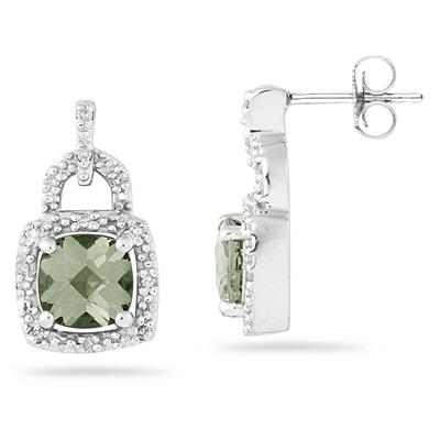 Cushion Cut Green Amethyst and Diamond Earrings 10K White Gold