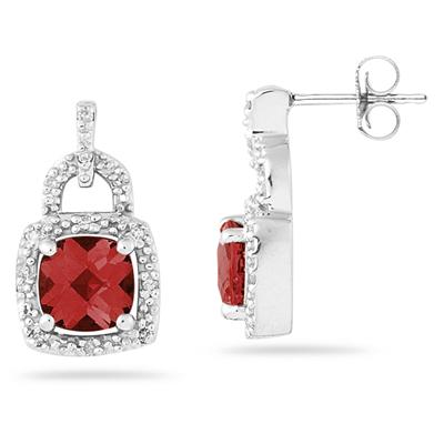 Cushion Cut  Garnet and Diamond Earrings 10K White Gold