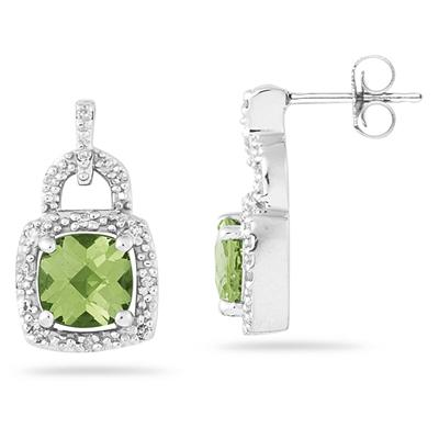 Cushion Cut  Peridot and Diamond Earrings 10K White Gold