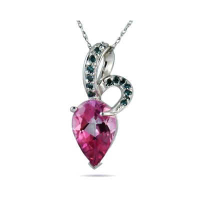 Pear Shaped Pink Topaz and Blue Diamond Pendant in White Gold