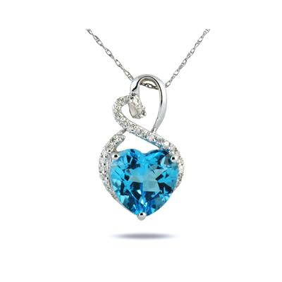 4.25CT Blue Topaz Heart and Diamond Pendant in 10K White Gold