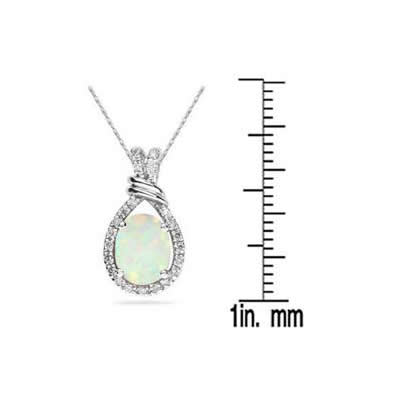 All Natural 9x7 Oval Opal and Diamond Pendant in in .950 Sterling Silver