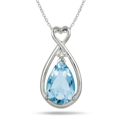 2.75 Carat Natural Blue Topaz and Genuine Diamond Pendant in .925 Sterling Silver