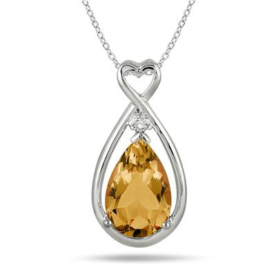 2.75 Carat Natural Citrine and Genuine Diamond Pendant in .925 Sterling Silver