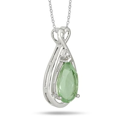 2.75 Carat Natural Green Amethyst and Genuine Diamond Pendant in .925 Sterling Silver
