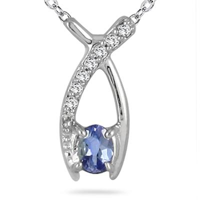 Tanzanite and Diamond Ribbon Pendant in 14K White Gold