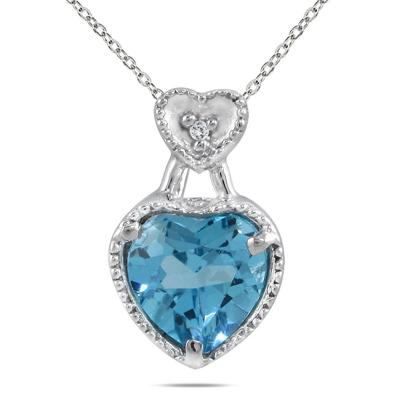 1.50 Cart All Natural Genuine Swiss Blue Topaz & Diamond Heart Pendant in .925 Sterling Silver