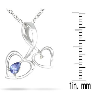 Tanzanite and Diamond Pendant in 10K White Gold