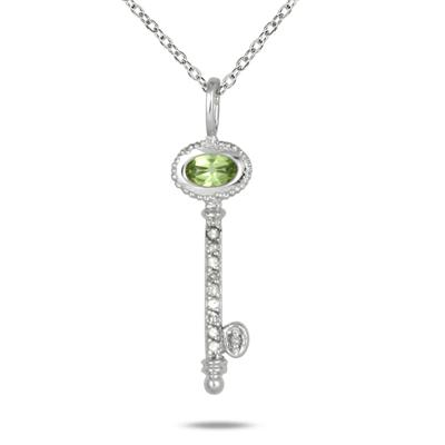 Peridot and Diamond Key Pendant in 10K White Gold