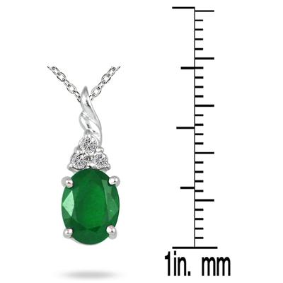 1.25 Carat Genuine Emerald and Diamond Pendant in .950 Sterling Silver
