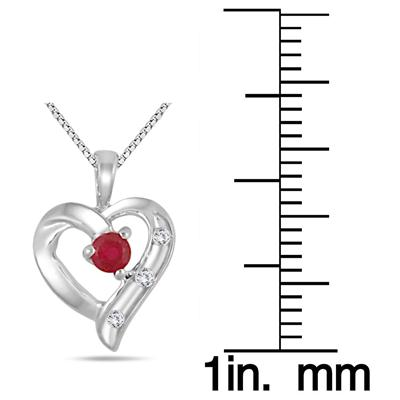All Natural Ruby and Diamond Heart Pendant in .925 Sterling Silver
