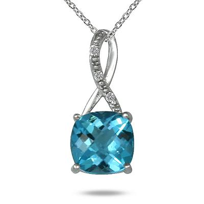 2.25 Carat Cushion Cut Swill Blue Topaz & Diamond Pendant in .925 Sterling Silver