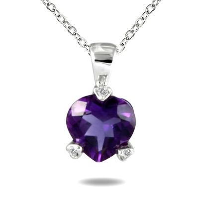 Heart Shape Amethyst and Diamond Pendant in 10K White Gold