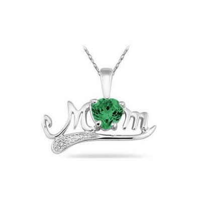 Created Emerald and Diamond MOM Pendant in .925 Sterling Silver