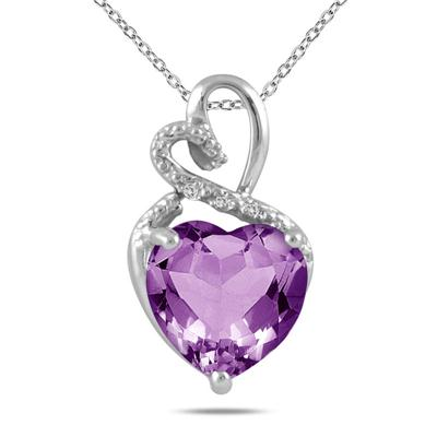 5.80 Carat Amethyst & Diamond Heart Pendant in .925 Sterling Silver