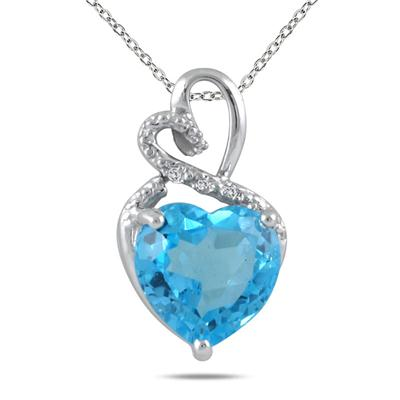 4.00 Carat Blue Topaz and Diamond Heart Pendant in .925 Sterling Silver