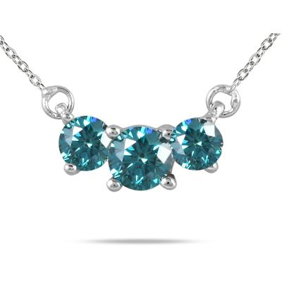 1.00 CTW Blue Diamond Three Stone Pendant Necklace in 14K White Gold