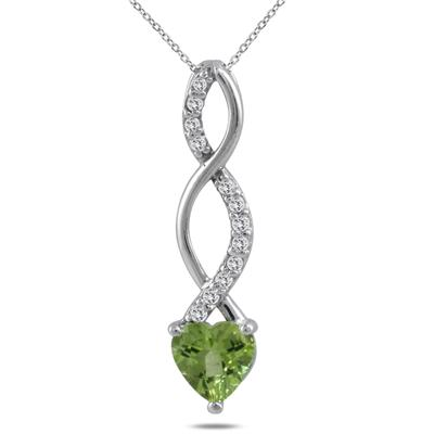 1.00 Carat Genuine Peridot and Diamond Heart Twist Pendant in .925 Sterling Silver