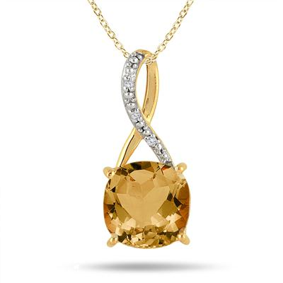 Carat Cushion Cut Citrine and Diamond Pendant in 18K Yellow Gold Plated Sterling Silver