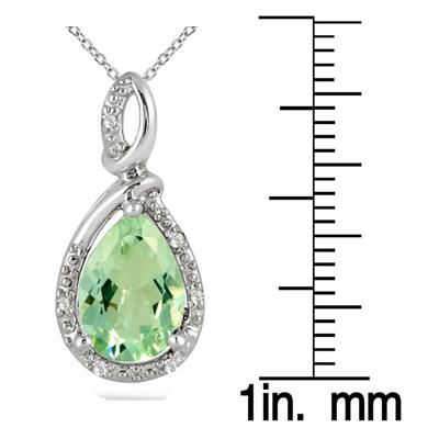 2.75 Carat Green Amethyst and Diamond Pendant in .925 Sterling Silver