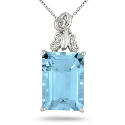 10 Carat Emerald Cut Blue Topaz and Diamond Pendant in .925 Sterling Silver