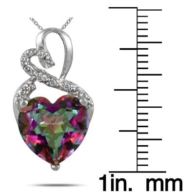 3.50 Carat Genuine Mystic Rainbow Topaz Heart and Diamond Pendant in .925 Sterling Silver