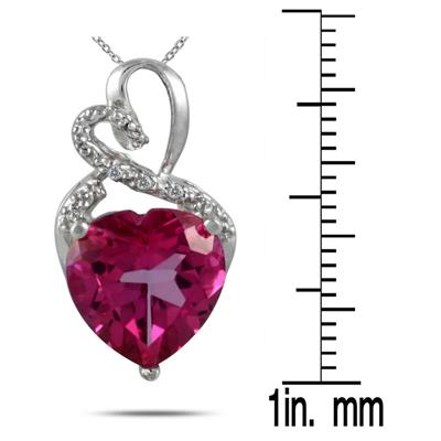 5.00 Carat Genuine Pink Topaz Heart and Diamond Pendant in .925 Sterling Silver