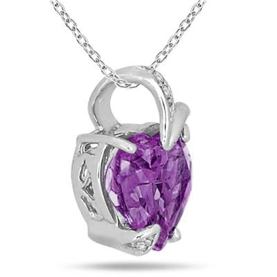 3.00 Carat Genuine Amethyst and Diamond Heart Pendant in .925 Sterling Silver