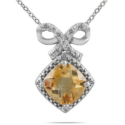 2.50 Carat Cushion Citrine and Diamond Pendant in .925 Sterling Silver