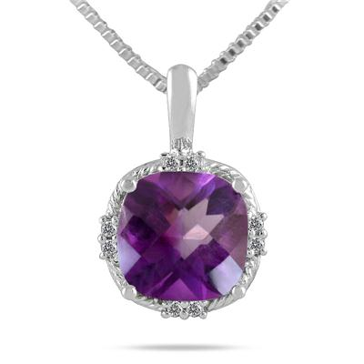 3.50 Carat Cushion Cut Amethyst and Diamond Antique Pendant in .925 Sterling Silver