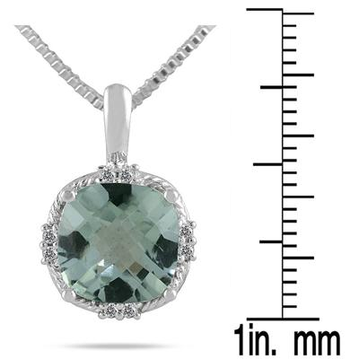 4.00 Carat Cushion Cut Green Amethyst and Diamond Antique Pendant in .925 Sterling Silver