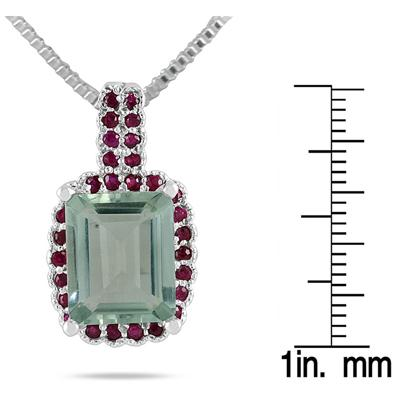 5 Carat Emerald Cut All Natural Green Amethyst and Ruby Pendant in .925 Sterling Silver