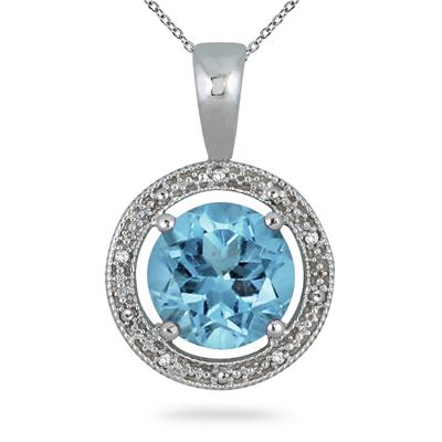 7.75 Carat Blue Topaz and Diamond Pendant