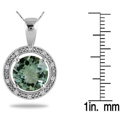 7.00 Carat Green Amethyst and Diamond Pendant in .925 Sterling Silver