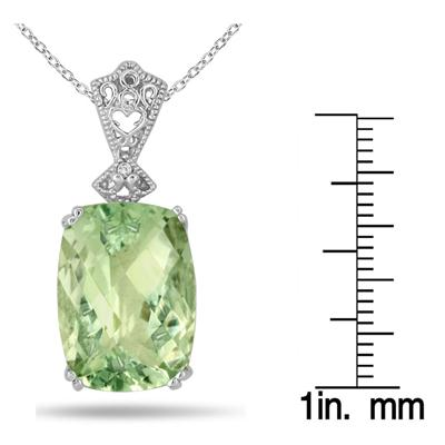 10 Carat Cushion Cut Green Amethyst and Diamond Heart Engraved Pendant in .925 Sterling Silver