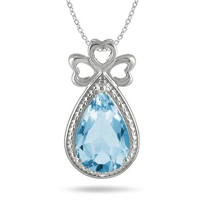 3.00 Carat All Natural Pear Shape Blue Topaz and Diamond Heart Clover Pendant in .925 Sterling Silver