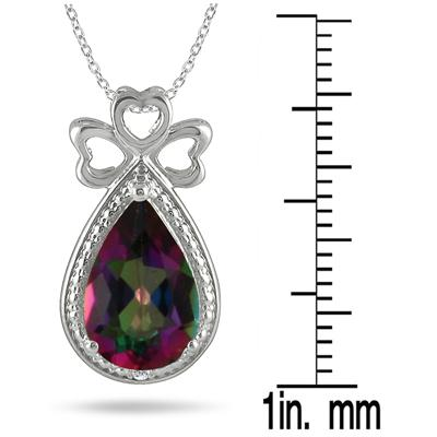 3.00 Carat All Natural Pear Shape Mystic Topaz and Diamond Heart Clover Pendant in .925 Sterling Silver